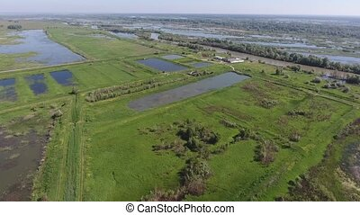 Aerial view of fish farm, cage fish farming, lake with fry