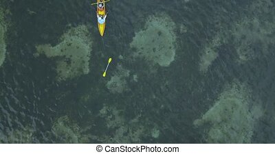 Aerial view of fisherman in the boat