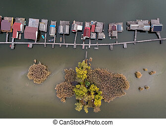 Aerial view of fishing buildings on a lake