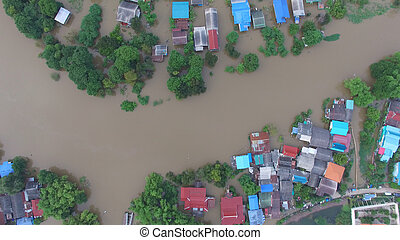 Aerial view of flood in Ayutthaya Province, Thailand.