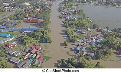 Aerial view of flood in Thailand.
