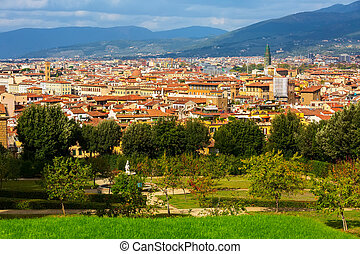 Aerial view of Florence, Italy and Boboli gardens - Aerial...