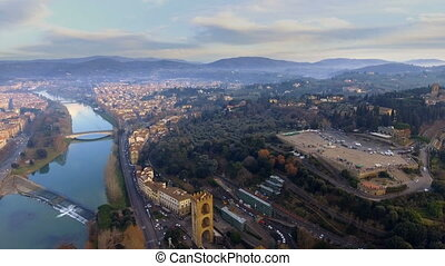 Aerial view of Florence, Italy at sunset.