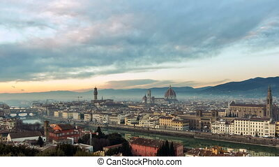 Aerial view of Florence, Italy at sunset. Cathedral Santa...
