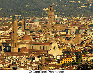 aerial view of Florence old town in golden light of sunset