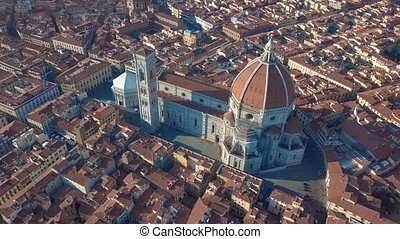 Aerial view of Florence, tuscany, Italy. Flying over the Florence roofs.
