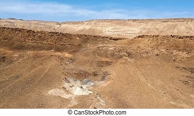 Aerial view of fly abobe Makhtesh Ramon crater - Drone...