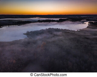 Aerial view of fog at Autumn, Lithuania