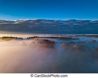 Aerial view of fog in Autumn, Lithuania