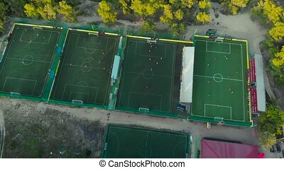 Aerial view of football fields
