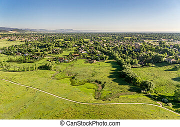 aerial view of foothills prairie in Colorado