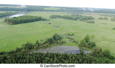 Aerial View of forest, field, lake