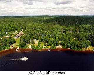 Aerial view of forest lake with ponton