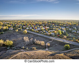aerial view of Fort Collins - aerial view of residential ...