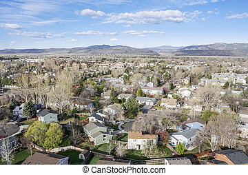 aerial view of Fort Collins, Colorado - aerial view of Fort ...