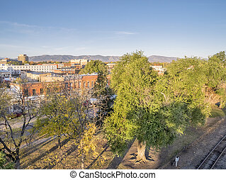 aerial view of Fort Collins downtown in sunrise light, shot ...