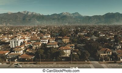 Aerial view of Forte dei Marmi, one of the major destinations which attract the Italian upper class. Italy