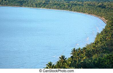 Aerial view of Four Mile Beach in Port Douglas Queensland, Australia