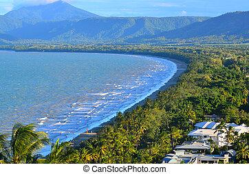 Aerial view of Four Mile Beach in Port Douglas Queensland, Australia.