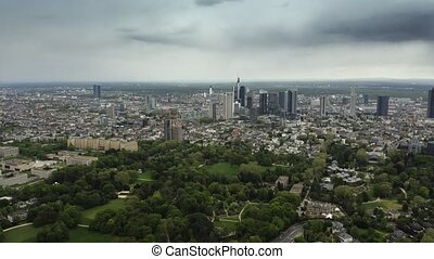 Aerial view of Frankfurt am Main cityscape, Germany - Aerial...