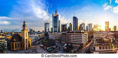 Aerial view of Frankfurt with Hauptwachen at sunset