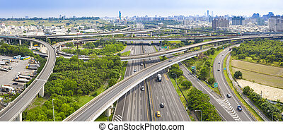 Aerial view of freeway interchange in kaohsiung city. Taiwan