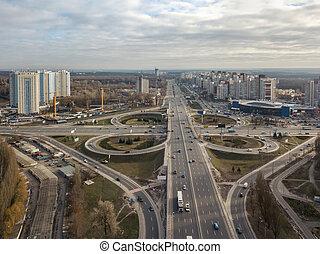 Aerial View of freeway traffic highway. Kiev, capital of Ukraine