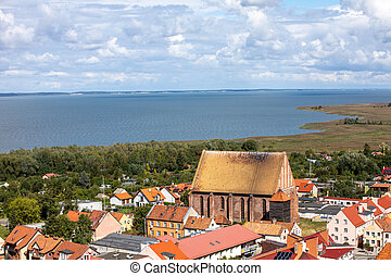 Aerial view of Frombork and Vistula Lagoon, Poland. View from the Radziejowski Tower on Cathedral Hill