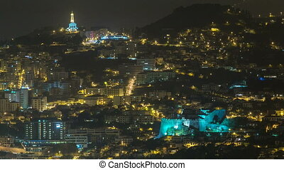 Aerial view of Funchal by night timelapse, Madeira Island,...