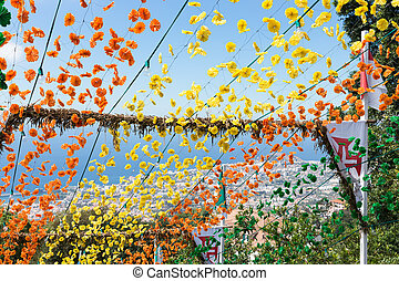 Aerial view of Funchal, Madeira, through the flowers of a decorated staircase
