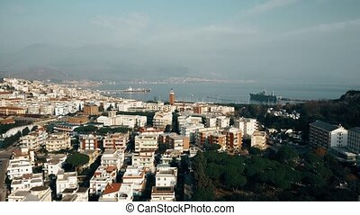 Aerial view of Gaeta and the naval base, Italy - Aerial view...