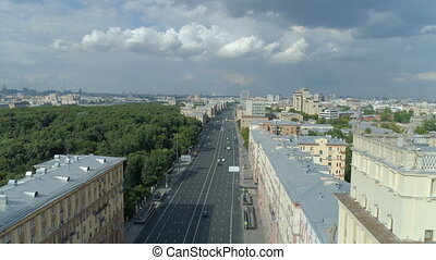 aerial view of Gagarin Square on a sunny summer day in...