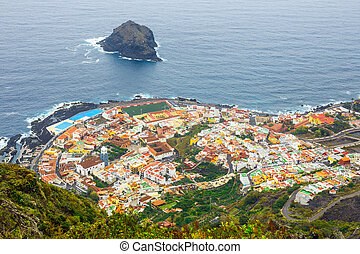 aerial view of Garachico in Tenerife, Canary Islands, Spain