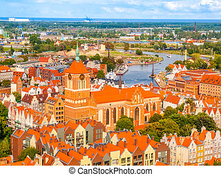 Aerial view of Gdansk from cathedral tower, Poland