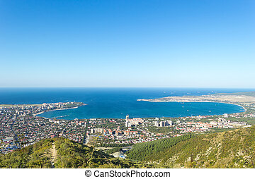 Aerial view of Gelendzhik sea bay. Photo of resort city from hill of caucasian mountains.