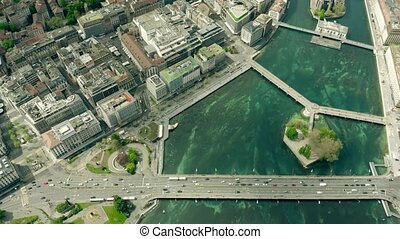 Aerial view of Geneva. Switzerland - Aerial view of Geneva,...