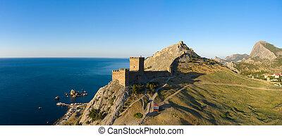Aerial view of Genoese fortress in Sudak