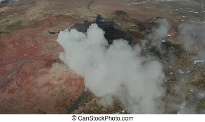 Aerial view of geothermal springs in Iceland in early spring