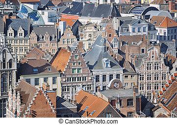 Aerial view of Ghent, Belgium - Ghent, Belgium. Aerial view...