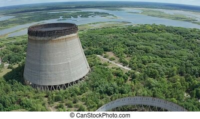 Aerial view of giant cooling towers near Chernobyl - Drone...