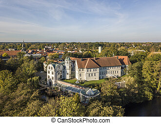 Aerial view of Gifhorn Castle in autumn