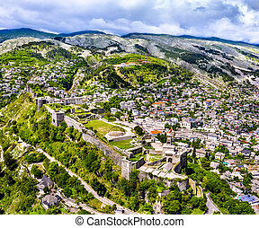 Aerial view of Gjirokaster Fortress. UNESCO world heritage in Albania