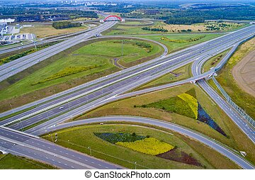 Aerial view of Gliwice Sosnica motorway junction.