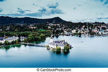 Aerial view of Gmunden Schloss lake in Austria