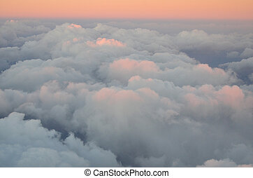 Aerial view of Golden Clouds in the Sunset