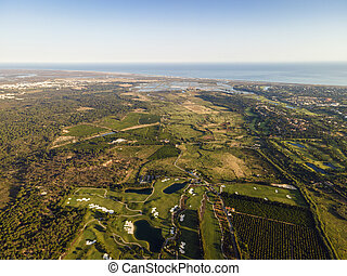 Aerial view of golf course in Algarve, South Portugal - ...