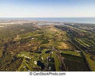 Aerial view of golf course near Faro, Algarve, South Portugal