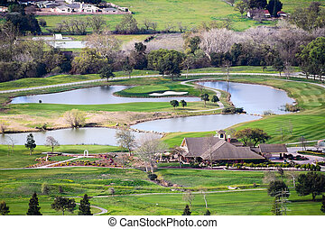 Aerial view of golf course in south San Francisco bay area, San Jose, California