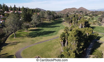 Aerial view of golf during, Rancho Bernardo, San Diego County, California. USA.