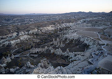 Aerial view of Goreme valley.